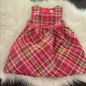 Pink plaid holiday dress 6-12 months